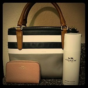 Coach Tote, Credit card wallet, & Leather cleaner